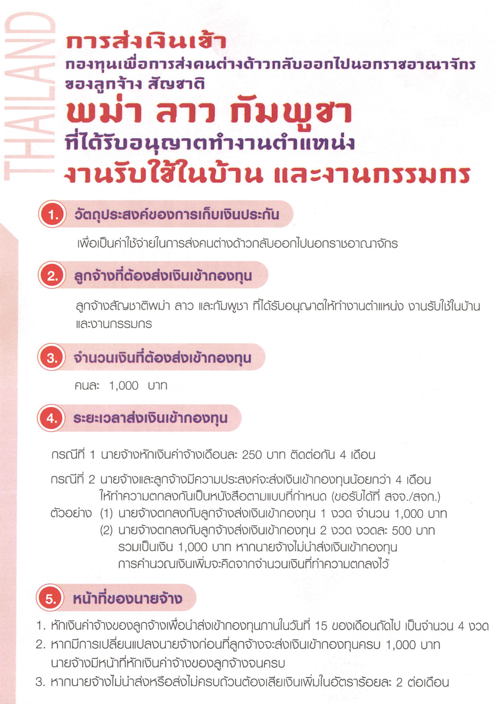 คู่มือการนำส่งเงินประกันค่าใช้จ่ายในการส่งคนต่างด้าวกลับฯ (ภาษาไทย)