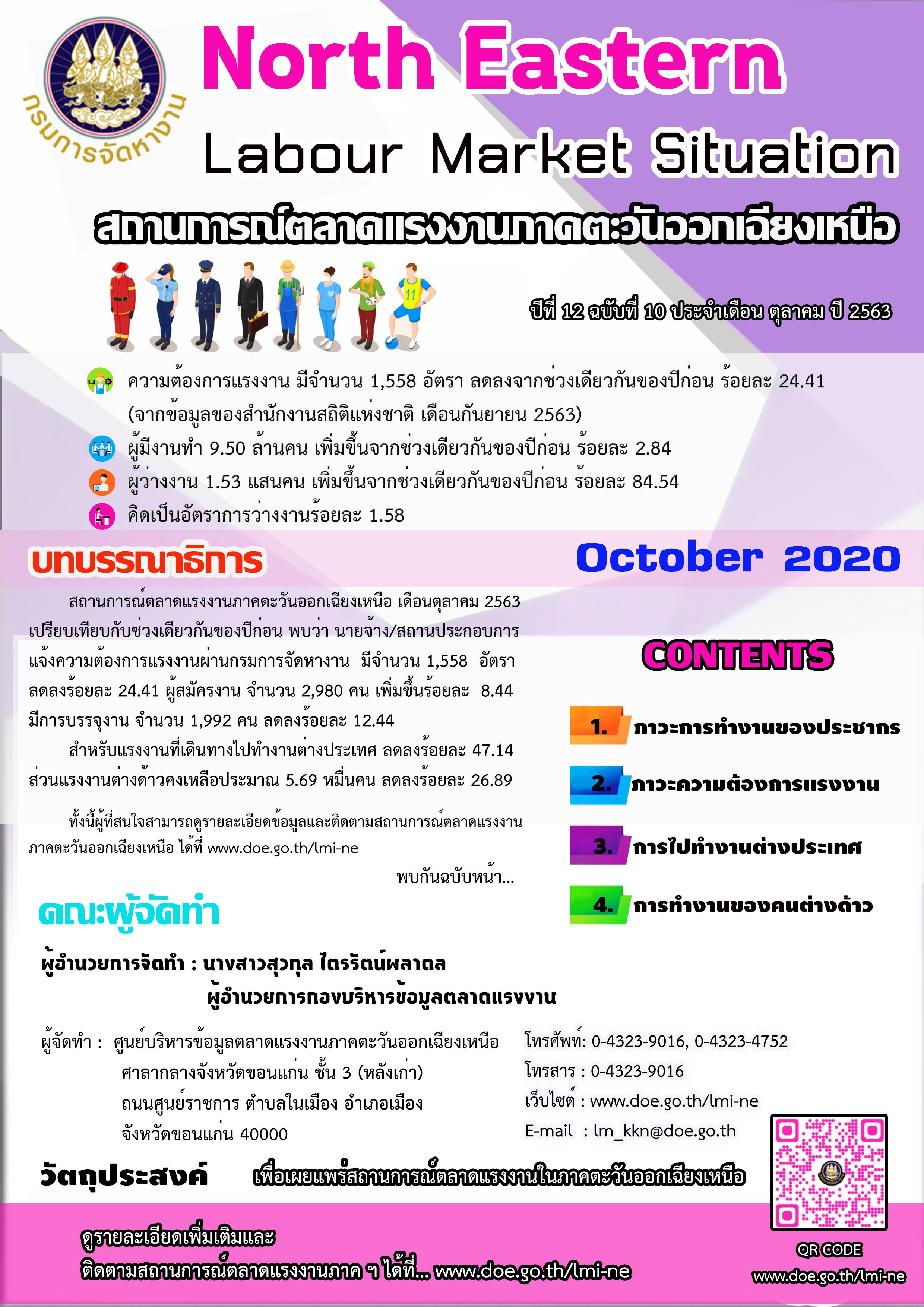สถานการณ์ตลาดแรงงานภาค ฯ เดือนตุลาคม 2563 infographic