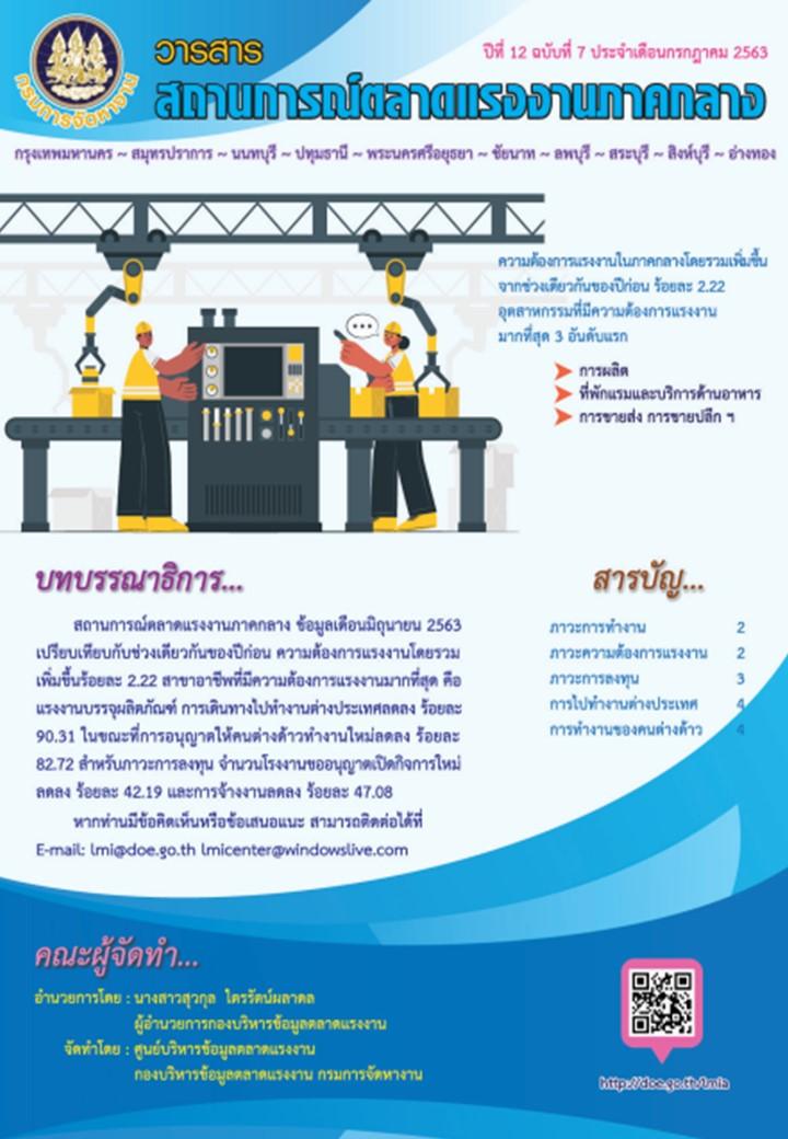 วารสารสถานการณ์ตลาดแรงงานภาคกลาง ประจำเดือน กรกฎาคม 2563