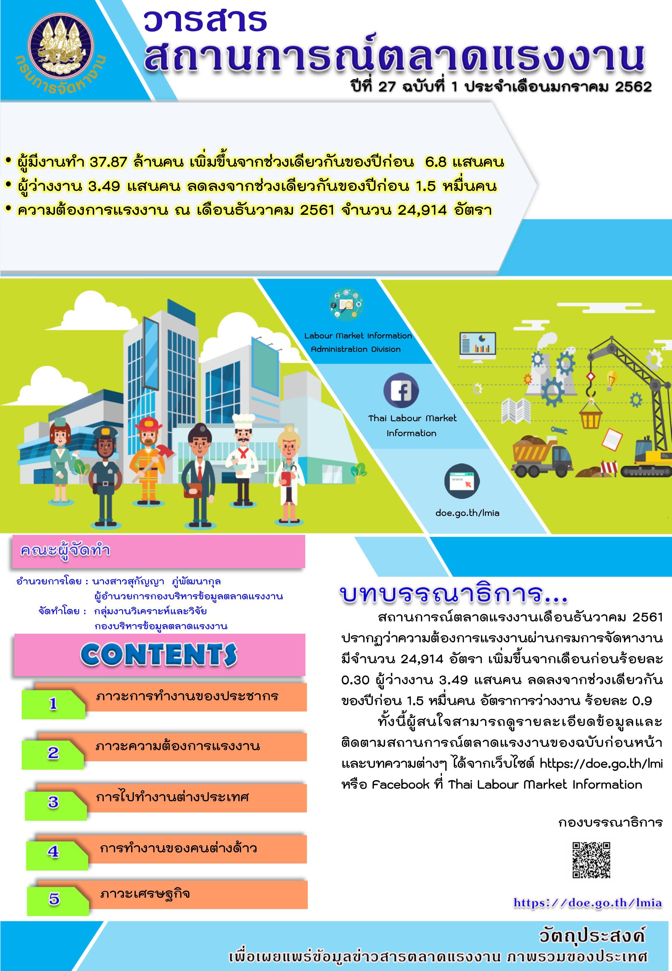 วารสารสถานการณ์ตลาดแรงงานประจำเดือนมกราคม 2562
