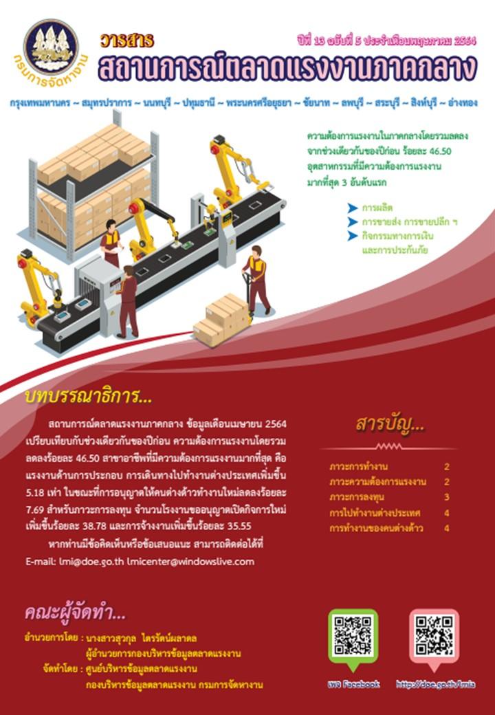 วารสารสถานการณ์ตลาดแรงงานภาคกลาง ประจำเดือนพฤษภาคม 2564