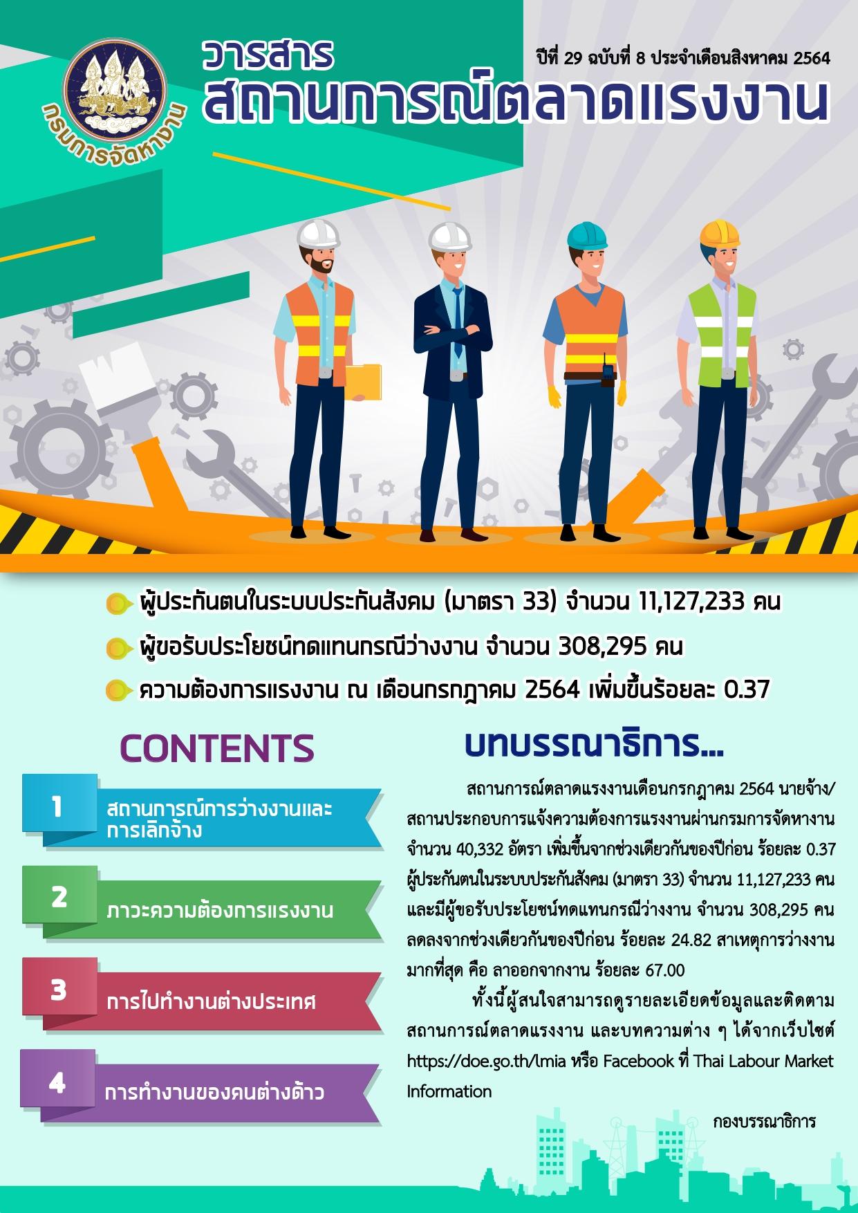 วารสารสถานการณ์ตลาดแรงงานประจำเดือนสิงหาคม 2564