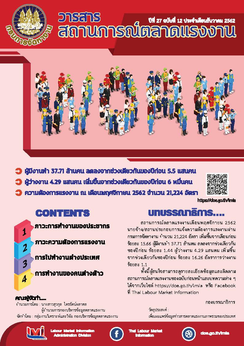 ปก วารสารสถานการณ์ตลาดแรงงานประจำเดือนธันวาคม 2562