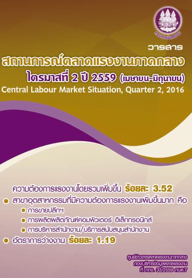 วารสารสถานการณ์ตลาดแรงงานภาคกลาง ไตรมาสที่ 2 ปี 2559 (เมษายน-มิถุนายน)
