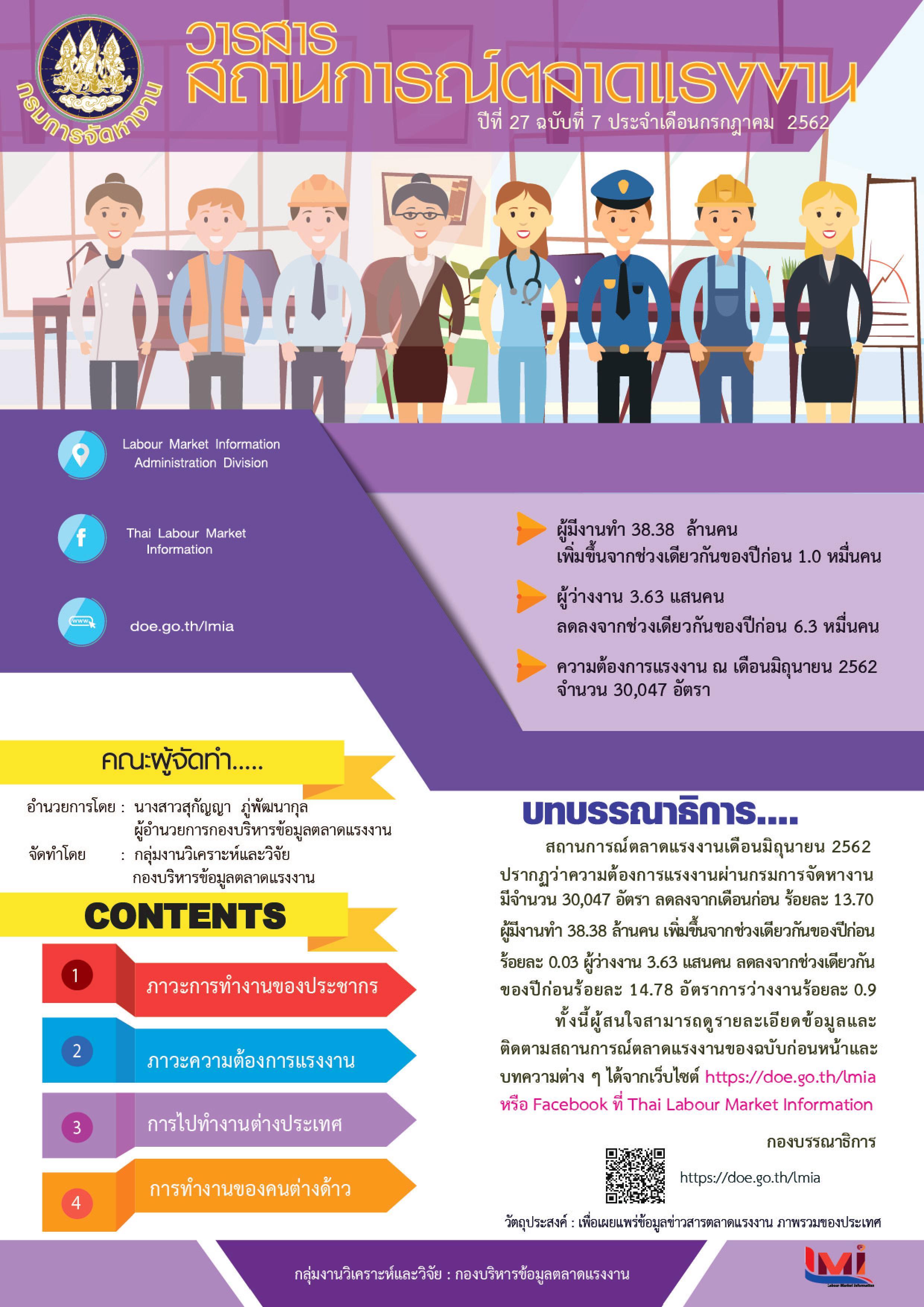 วารสารสถานการณ์ตลาดแรงงานประจำเดือนกรกฎาคม 2562