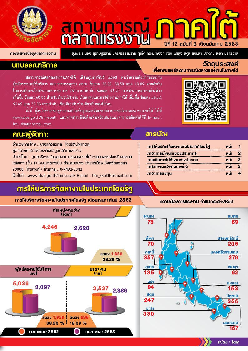 วารสารสถานการณ์ตลาดแรงงานภาคใต้ประจำเดือนมีนาคม 2563