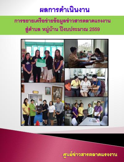 ผลการดำเนินงานการขยายเครือข่ายข้อมูลข่าวสารตลาดแรงงาน สู่ตำบล หมู่บ้าน ปี 2559