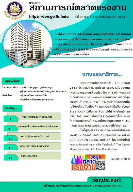 วารสารสถานการณ์ตลาดแรงงานประจำเดือนเมษายน 2561