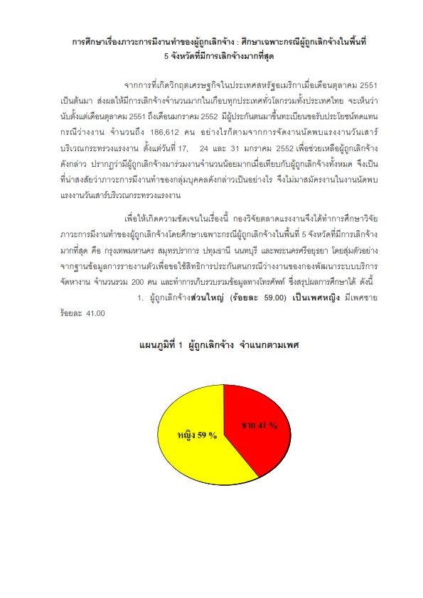 5.ภาวะการมีงานทำของผู้ถูกเลิกจ้างศีกษาเฉพาะกรณีผู้ถูกเลิกจ้างในพื้นที่ 5 จังหวัดที่มีการเลิกจ้างมากที่สุด (10 ก.พ. 2552 ศูนย์ข่าวสารตลาดแรงงาน)