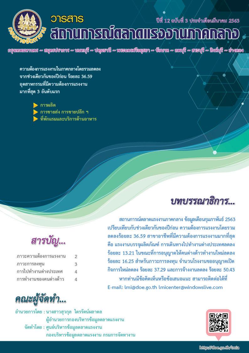 วารสารสถานการณ์ตลาดแรงงานภาคกลางประจำเดือน มีนาคม 2563