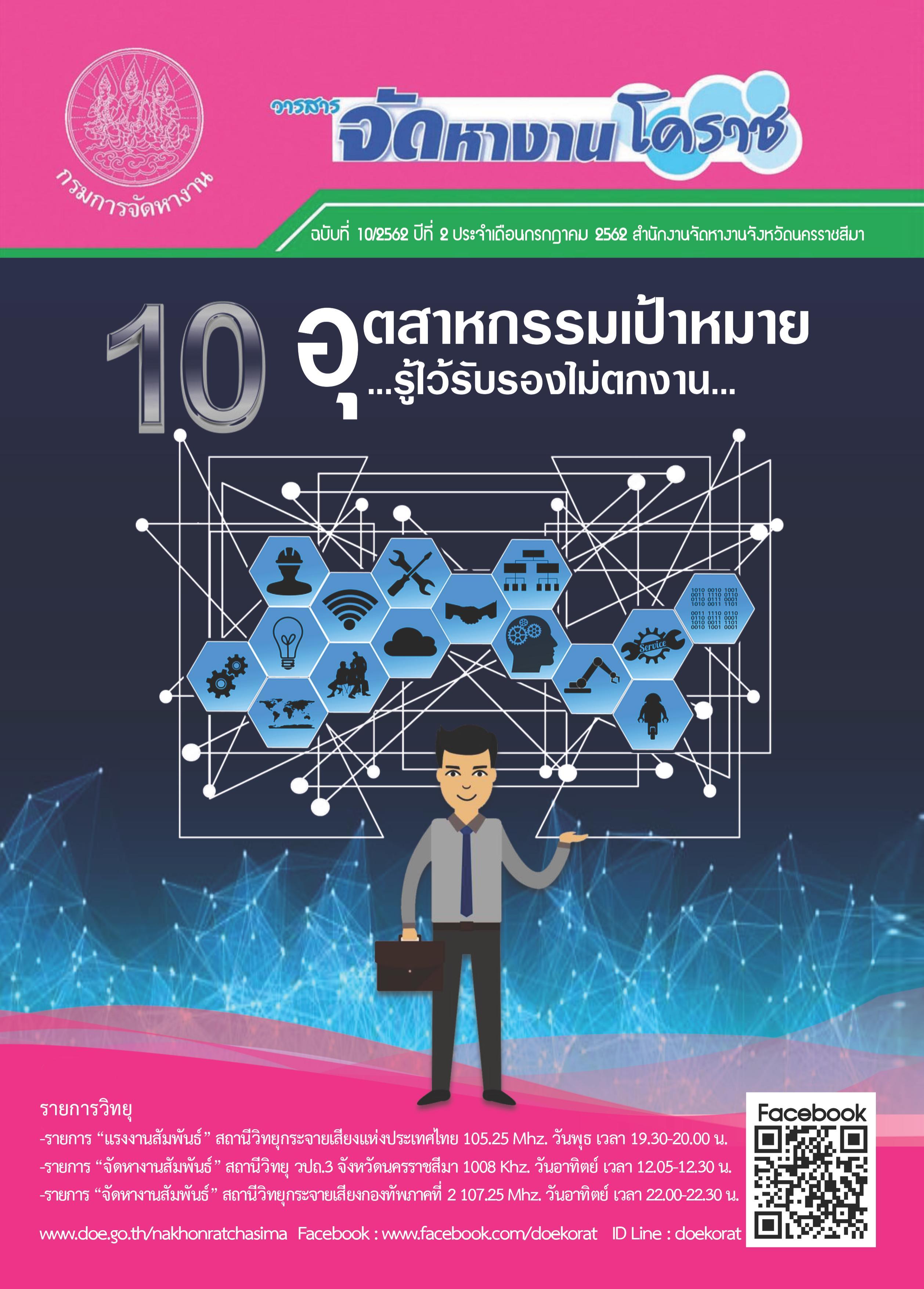 วารสารจัดหางานโคราช ฉบับที่ 10/2562 ปีที่ 2 ประจำเดือนกรกฎาคม 2562