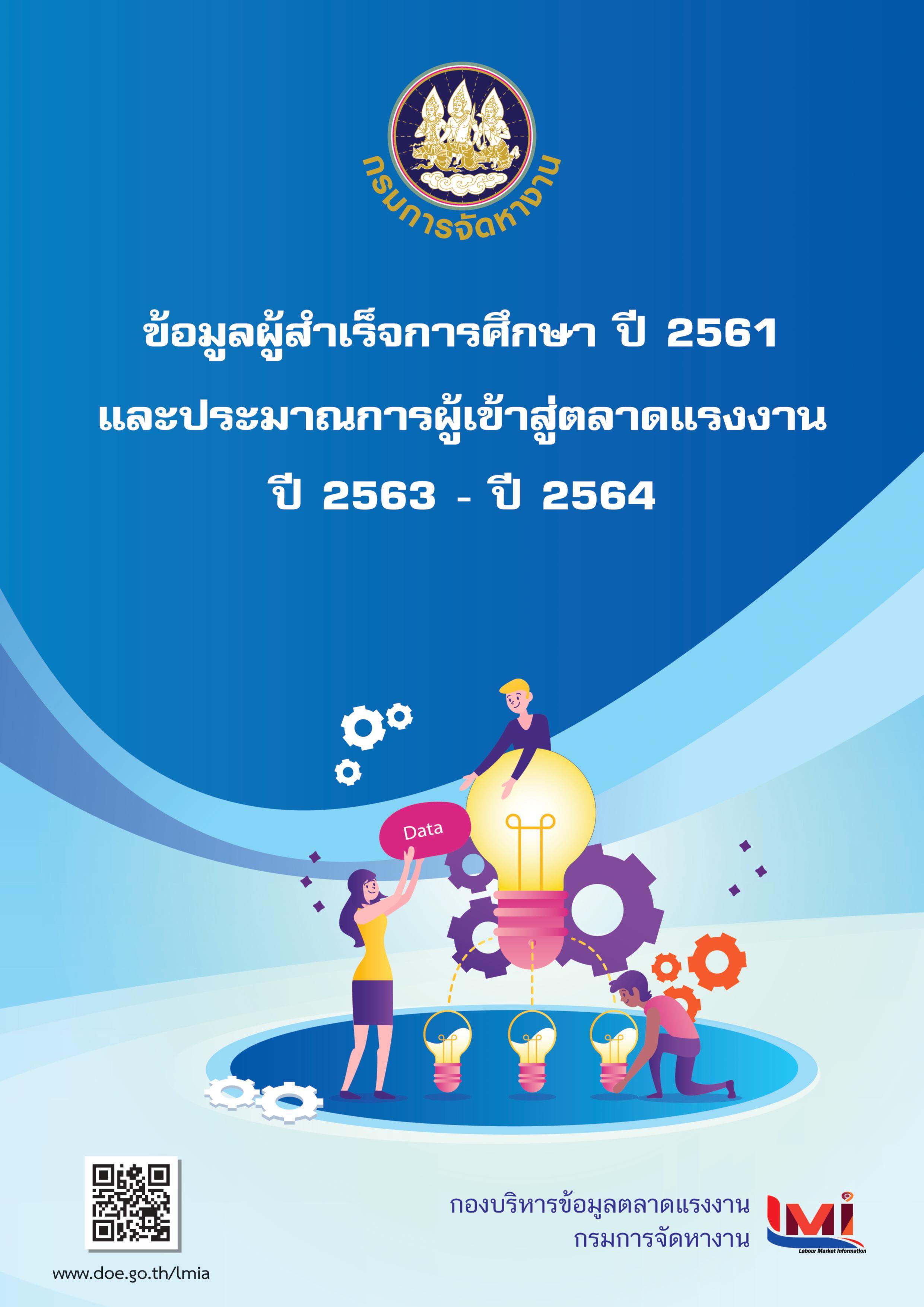 ข้อมูลผู้สำเร็จการศึกษา ปี 2561  และประมาณการผู้เข้าสู่ตลาดแรงงาน ปี 2563 - 2564