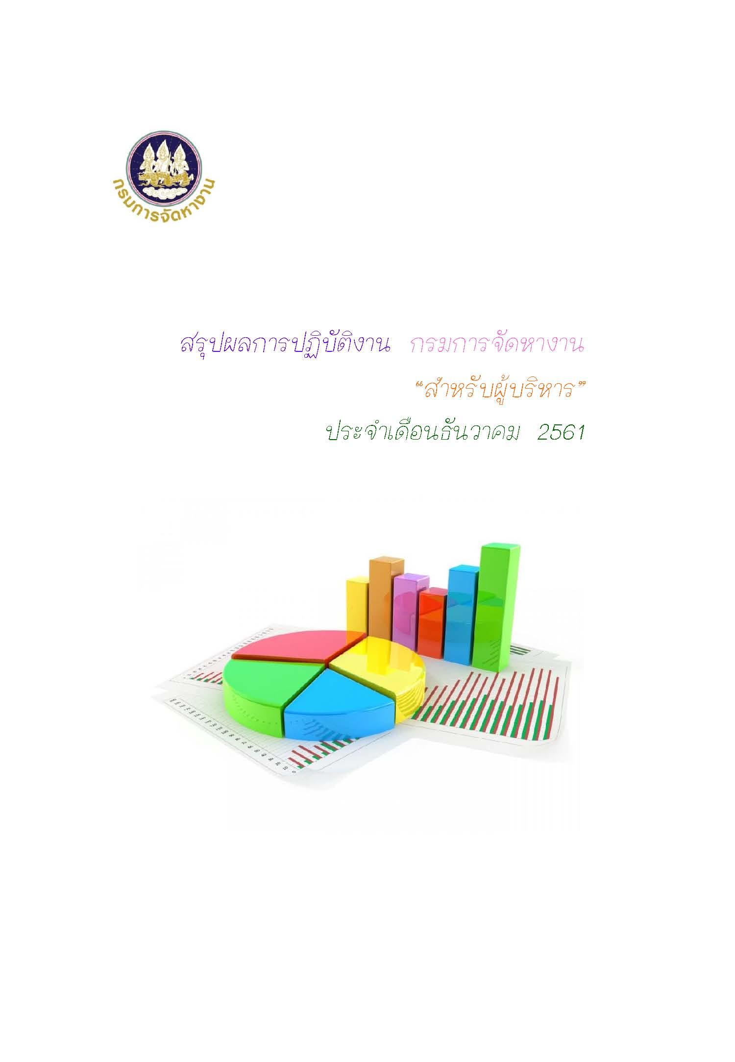 สรุปผลการปฏิบัติงาน กรมการจัดหางาน สำหรับผู้บริหาร ประจำเดือนธันวาคม 2561